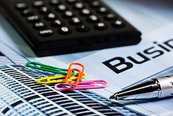 Kalkulator, šarene spajalice, kemijska olovka i dokument na kojem piše Business